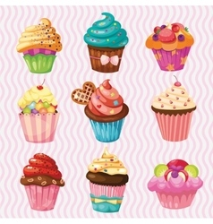 Set of Cakes nine different cakes vector image