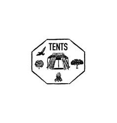 tents grunge retro logo vector image vector image