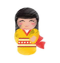 Drawing kokeshi doll geisha decorative vector