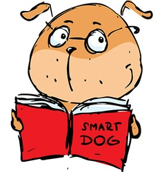 Smart dog reading book - vector image