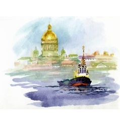 Watercolor river landscape with church and boat vector image