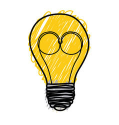 yellow pencil drawing background of light bulb vector image vector image
