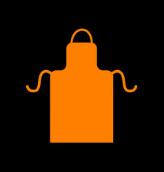 apron simple sign orange icon on black background vector image