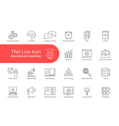 big thin line set of e-learning and education with vector image