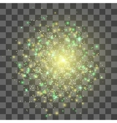 Glow light effect Gold explosion vector image vector image