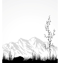 Landscape with mountains glass and tree vector image vector image