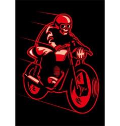 skull ride a vintage motorcycle vector image vector image