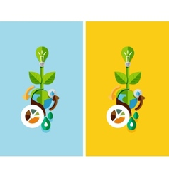 Flat design nature concept green energy vector image