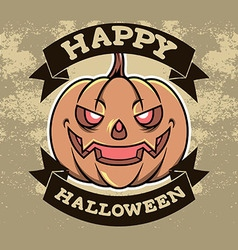 Pumpkin Head Halloween Badge vector image vector image