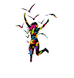 abstract colorful a woman jumping and birds vector image