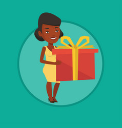 african-american woman holding box with gift vector image