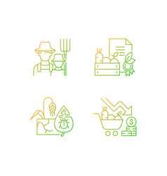 Agribusiness gradient linear icons set vector