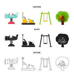 airplane on a spring swings and other equipment vector image