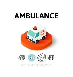 Ambulance icon in different style vector