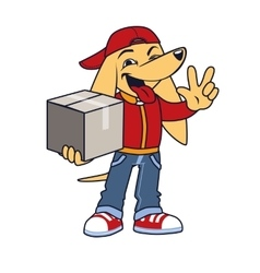 Asian dog in courier clothing with box vector