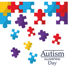 Autism awareness poster with puzzle pieces vector