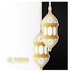 awesome eid mubarak design with hanging lamps vector image