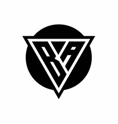 Ba logo with negative space triangle and circle vector
