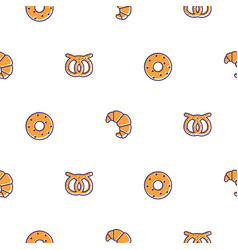 bakery icons seamless pattern bakery shop vector image