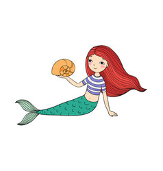 Beautiful little mermaid and shell siren vector