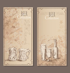Beer collection cards for the restaurant vector