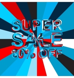 Big ice sale poster with SUPER SALE 80 PERCENT OFF vector