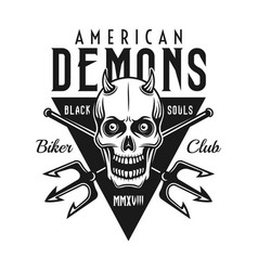 Biker club black emblem with demon skull vector