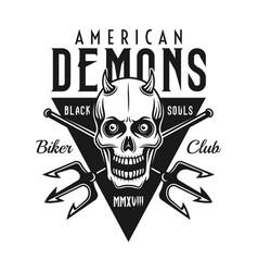 biker club black emblem with demon skull vector image