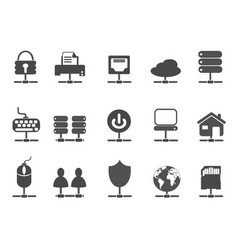 black network connection icons set vector image