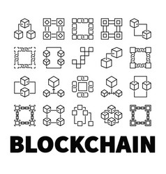 blockchain icons set of 20 block chain vector image