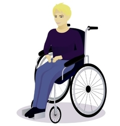 Boy with disabilities in a wheelchair vector