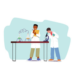 Boys conduct chemical experiment children vector