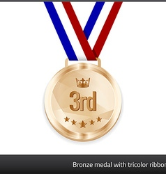 Bronze medal with tricolor ribbon vector