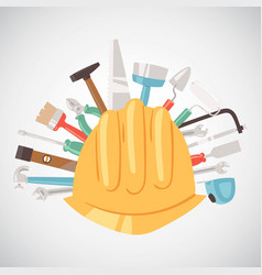 building tools around helmet banner vector image
