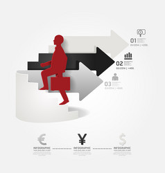 Businessman up arrow ladder info graphic vector