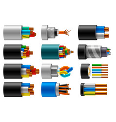 cable wire electric fiber or copper power in cut vector image