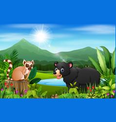 cartoon bear and lemur in the beautiful landscape vector image