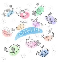 cartoon bird- cute doodle bird vector image