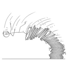 cartoon of man or businessman falling from pile vector image