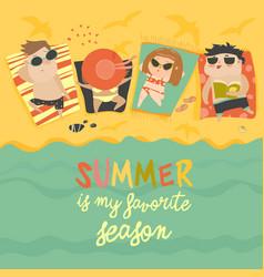 children on sunny beach vector image