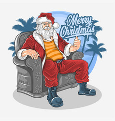 christmas santa claus sit down on sofa chair vector image