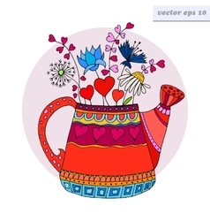 Colored watering can vector