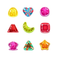 Colourful glossy candies various shapes vector