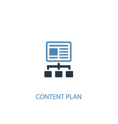 content plan concept 2 colored icon simple blue vector image