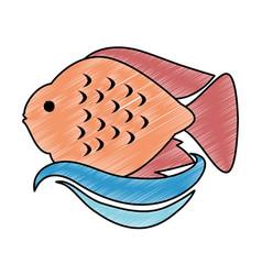Cute ornamental fish icon vector