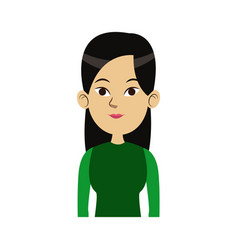Cute woman looking away view front vector