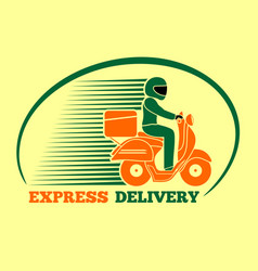 delivery man riding a scooter express delivery vector image