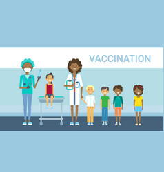 Doctor vaccination of children illness prevention vector