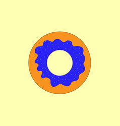 donut with icing on a yellow background vector image