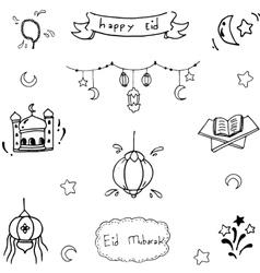 Doodle art happy eid vector